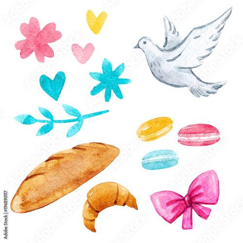 Fotobehang Macarons Watercolor illustrations set