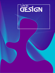 Abstract wavy lines design. Lines geometric gradients shape. Futuristic poster.