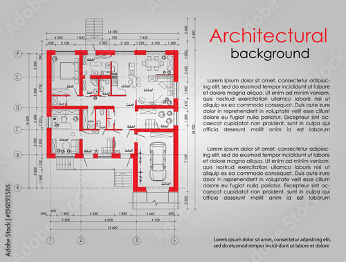 Fototapeta Background for an architectural element. Banner. Advertising element. The red lines in the drawing. Space for labels and titles. Architectural drawing. Disposition of the apartment house