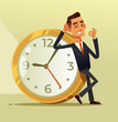Happy calm businessman office worker character sitting on big clock a showing ok sigh. Stop time clock organization concept. Vector flat cartoon illustration