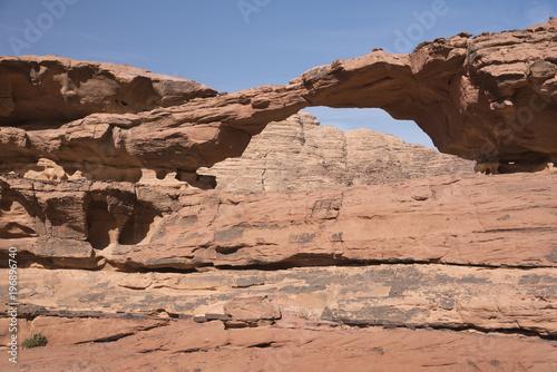 Natural rock little bridge in Wadi Rum desert, nobody, Jordan Poster