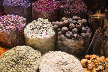 Colorful spices on arabian souk market