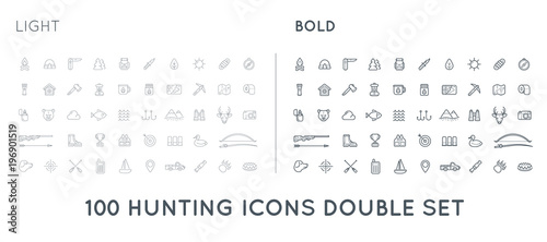 Plexiglas Hipster Hert Set of Thin and Bold Raster Hunting Camping Sport Elements Illustration can be used as Logo or Icon in premium quality