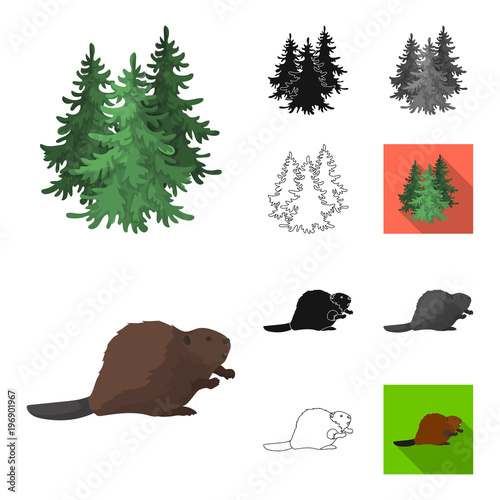 Obraz na płótnie Country Canada cartoon,black,flat,monochrome,outline icons in set collection for design. Canada and landmark vector symbol stock web illustration.