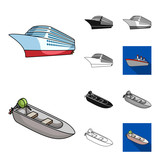 Water and sea transport cartoon,black,flat,monochrome,outline icons in set collection for design. A variety of boats and ships vector symbol stock web illustration. - 196904134