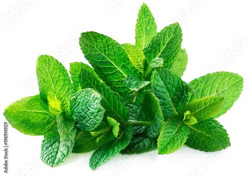 Leinwandbild Motiv Fresh spearmint leaves isolated on the white background.