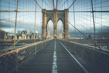 On the famous Brooklyn Bridge in the morning - 196915534