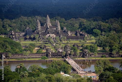 Fotobehang Nachtblauw Angkor Wat from the air