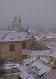 Winter cityscape, snowing in Prague, Czech Republic  - 196921122