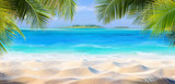 Tropical Sand With Palm Leaves And Paradise Island 