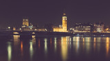 London night view with Big Ben and parliament at westminster
