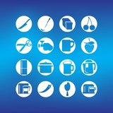 Cooking Icon Set with knife, meat machine , pan  and coffee machine