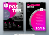 Poster template layout design. Business poster, placard background mockup in bright colors. Vector illustration with pink magenta gradient circle - 196938925