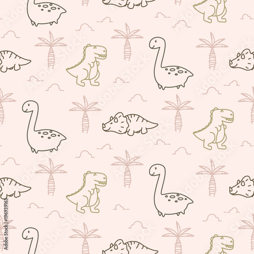 Cotton fabric Cute dinosaurs seamless vector pattern.
