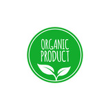 Organic food label and high quality product badge. Emblem for cafe, packaging etc. Vector illustration