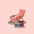 beach chair and camera over pink background, colorful design vector illustration