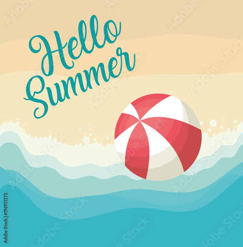 Deurstickers Bol Hello summer design with ball over beach background, colorful design vector illustration