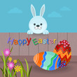 Easter eggs on ground with rabbit stand and holding wood fence. vector card design Happy Easter.