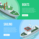 Isometric view of Boats and Sailing banners with different ships on multicolored background. - 196956546
