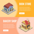 Isometric viewof small book store and bakery shop building on multicolored banner. - 196957178