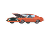 Red colored retro muscle car with opened hood on white background.