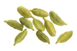 Green cardamom seeds isolated on white background. Top view. lay flat - 196973193