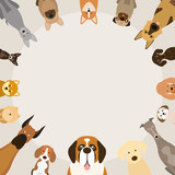 Dog Breeds, Round Frame, Front View, Vector Illustration