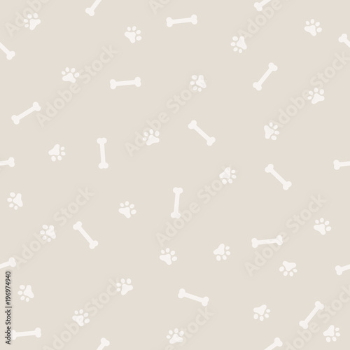 obraz PCV Dog Footprint and Bone Seamless Patter, Background and light color
