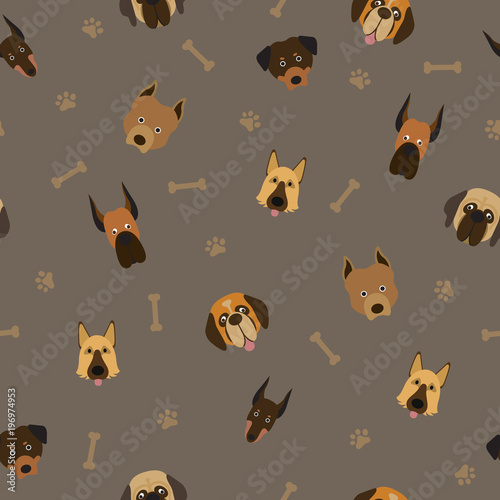 fototapeta na ścianę Dog Breeds Head Seamless Pattern, Dark Background, Footprint and Bone