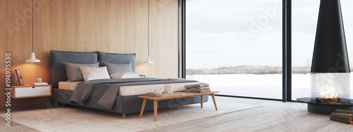 modern bedroom in a apartment with view. 3d rendering © 2mmedia