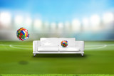 football soccer ball with various nations with couch in stadium 3d rendering - 196976390
