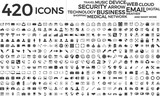 Black web business technology icons set - 196979731