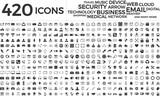Black web business technology icons set