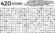 Black Web Business Technology Icons Set Sticker