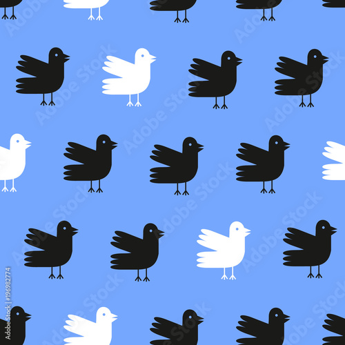 Cotton fabric Funny cartoon birds seamless pattern over blue background. Vector illustration.