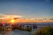 canvas print picture - Sonnenuntergang am Strand auf der ostfriesischen Nordseeinsel Juist in Deutschland, Europa.