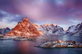 Beautiful sunrise landscape of picturesque fishing village in Lofoten islands, Norway