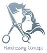 Hairdresser Hair Salon Scissors Man Woman Concept