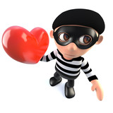 3d Funny cartoon burglar thief character holding a red romantic heart - 196989564
