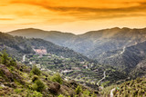 Beautiful bright sunset in the mountains in Cyprus, a popular destination for summer travel in Europe