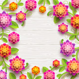 Artificial paper flowers on a white wooden plank background with copy space in the center. Vector illustration.