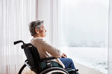 Senior woman in wheelchair at home.