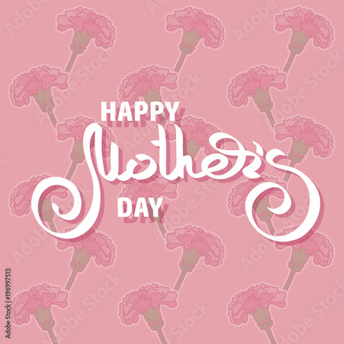 Happy Mothers Day. Greeting card with pink carnations. © veye