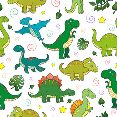 Seamless pattern with colorful dinosaurs and leaves, animals on white background
