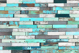 Background of colorful old painted grunge wood planks - 196999380