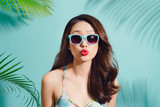 Summer fashion portrait of beautiful elegant asian woman posing in summer outfit - 197011359