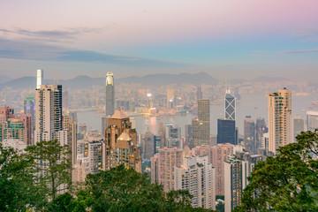 Aerial view of Hong Kong skyline at dusk