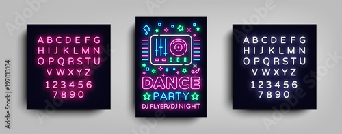 Dance party poster design template in neon style. Night party DJ neon sign, light banner, flyer nightlife advertisement, party invitation concert, disco. Vector illustration. Editing text neon sign