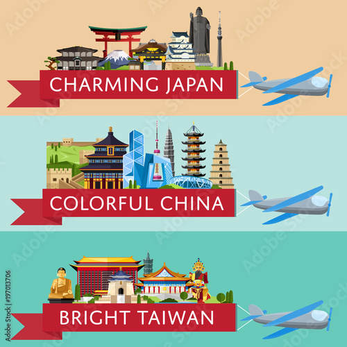 Foto op Plexiglas Groene koraal Worldwide travel horizontal flyers. Plane with banner and famous architectural attractions. Charming Japan. Colorful China. Bright Taiwan. Time to travel idea. Worldwide air traveling.