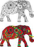 Elephant decorated with ornaments in the style of Indian mehndi.